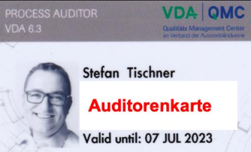 qualifizierter und zertifizierter VDA 6.3:2016 Auditor mit VDA Auditorenkarte